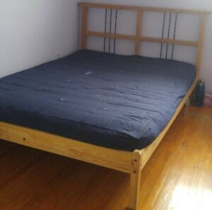 IKEA double bed with never used  cotton mattress