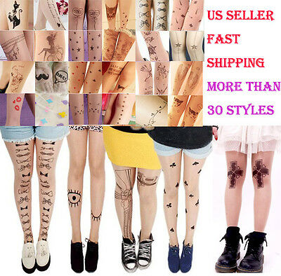 Sexy Unique Tattoo Pattern Pantyhose Cute Design Stockings Costume Accessories - Unique Costumes
