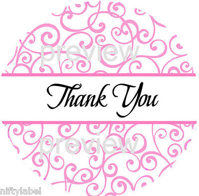 Pink Swirls 115 Thank You Sticker Labels - Laser Printed