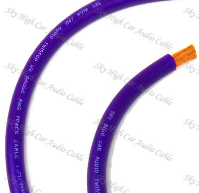 20 ft 1/0 Gauge Oversized AWG PURPLE Power Ground Wire Sky High Car Audio Cable for sale  Sparks