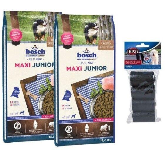 2x15kg Bosch Junior Maxi Hundefutter + 80 Stk. Kotbeutel