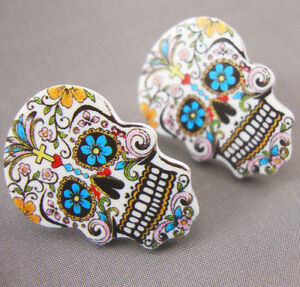 Sugar Skull Day of the Dead Tattoo Stud Earrings Kitsch Rockabilly Psychobilly