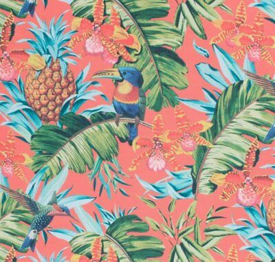Tropical Blue Teal Green Fabric Orange Coral Yellow Pink Bird Upholstery Drapery