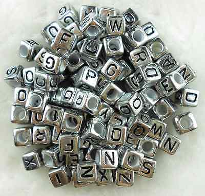 100Pcs  6mm A-Z SINGLE LETTER Acrylic Silver Cube ALPHABET - Letter Beads