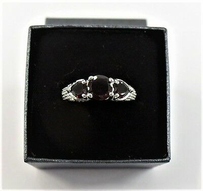Lot of 20 - Genuine Three Stone Garnet Rings - Size 10