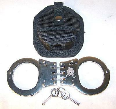 HEAVY DUTY SILVER HINGED POLICE SECURITY HANDCUFFS W CASE & KEYS double lock NEW