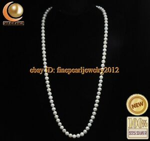 Natural 7-8mm AAA white pearl necklaces ( 30 inch ) R-FIN00056RS
