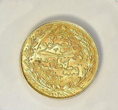 TURKEY ~ 1905 ~100~KURUSH ~RARE GOLD~ANACS~AU~55 ~AH1293/30~ABDUL HAMID~ $399.88