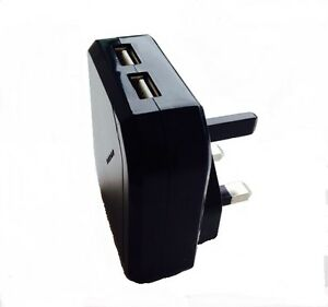 TWIN PORT 2 WAY TOP LOAD USB SOCKET 2.1AMP UK MAINS CHARGER FOR iPHONE iPAD