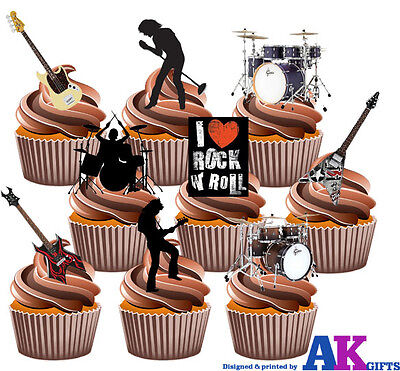 Rock Band Guitar Drum Party Pack 36 Edible Stand Up Cup Cake Toppers Decorations