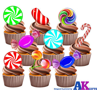 Candy Land Themed - Fun Fully Edible Cup Cake Toppers Birthday Decorations](Candyland Theme Cake)