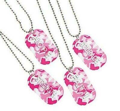 12 Breast Cancer Awareness Metal Pink Ribbon Camouflage Dog Tag Chain Necklace Breast Cancer Dog Tag