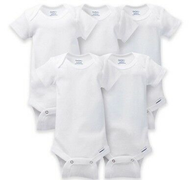 afc899f4c GERBER Baby Boy or Girl Unisex 5-Pack Short Sleeve ORGANIC Cotton Onesies  White