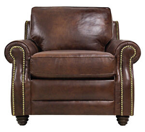 New luke leather dark caramel brown italian leather levi for Brown leather couch with studs