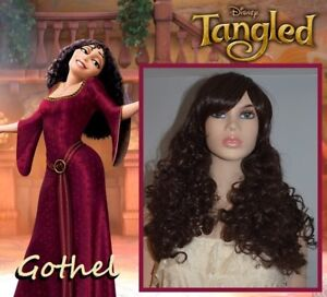 NEW: Deluxe Curly Dark Brown Wig for GOTHEL Tangled Costume