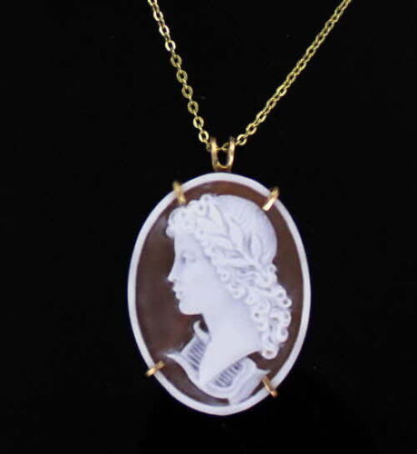 Vintage Hand Carved Cameo by  Aniello Pernice  Wire Wrapped