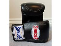 Sandee Velcro Large Black Leather Bag Gloves Mitts MMA Muay Thai Boxing