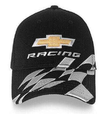 Chevy Racing Baseball Hat Ball Cap ~ Black w/ Bowtie & Checkered Flag A-Flex (Checkered Flag Baseball Cap)