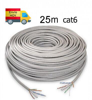 Bobina Cable Red Ethernet 25m metros RJ45 CAT6 Cat 6 Gigabit 1000Mbps...