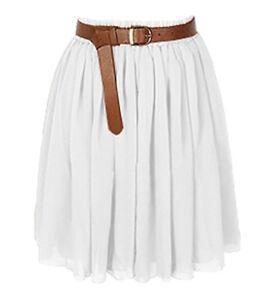 white chiffon mini dress skirt pleated