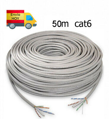 Bobina Cable Red Ethernet 50m 50 metros CAT6 CAT 6 Gigabit 1000...