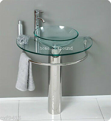 modern Bathroom vanities pedestal vessel glass furniture sink w bath faucet 01