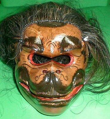 Monkey Mask Bali Hindu Celeluk Hanaman with hair Gargoyle Hand carve d 8x7 inch
