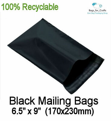 25 Recyclable Plastic Mailing Bags BLACK 6.5 x 9
