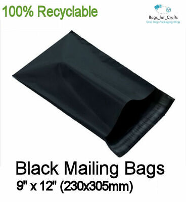 100 Recyclable Plastic Mailing Bags BLACK 9 x 12