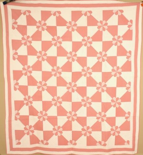NICELY QUILTED Vintage Hearts & Gizzards Antique Quilt ~AMAZING DESIGN!
