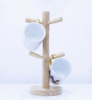 - Wooden Mug Tree Stand Kitchen Coffee Glass Cup Rack 6 Cups Tree Storage Holder