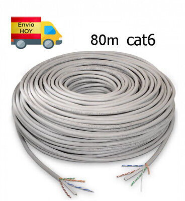 Bobina Cable Red Ethernet 80m metros RJ45 CAT6 Cat 6 Gigabit 1000...
