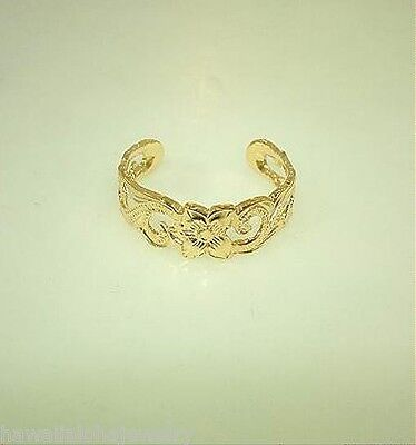 6mm Hawaiian 14k Yellow Gold-Plated Over Silver Pierced Heritage Scroll Toe Ring