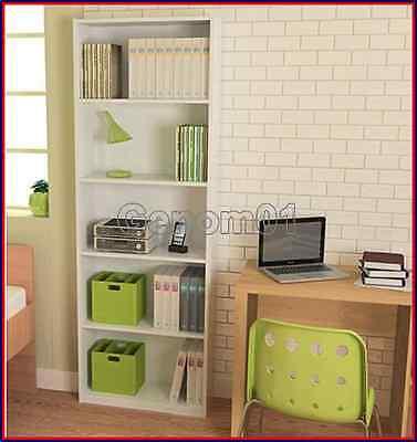 White Bookcase 5 Shelf Adjustable Bookshelf Furniture Wood Storage Shelving Book