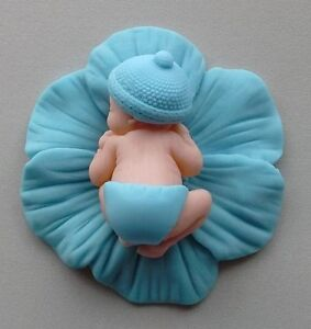 Sleeping Baby boy blue Anemone flower edible cupcake cake toppers chistening