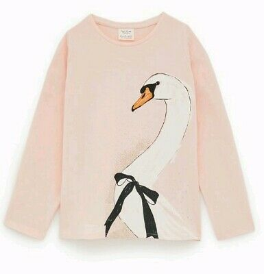 Zara Light Pink Tshirt With White Duck Girls Size 9 #280