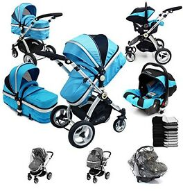 i-Safe System - Ocean Trio Travel System Pram & Luxury Stroller 3 in 1 Complete With Car Seat
