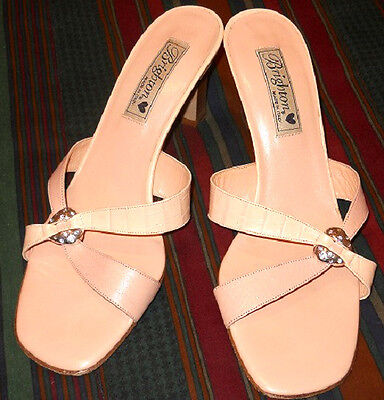 Women's Italian Leather Shoes Heels Sandals by Brighton Roxan~9.5 M~Excellent*