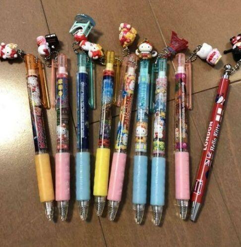 Mint Sanrio Hello Kitty MECHANICAL & PENCIL Pens LOT OF 9 Gotochi Mascot Charm