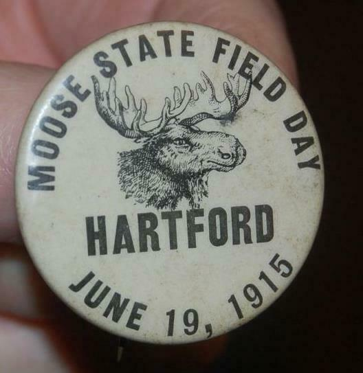 RARE 1915 ORDER OF MOOSE STATE FIELD DAY HARTFORD CT. FRATERNAL CELLULOID PIN