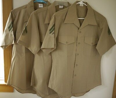 (Lot 3 Genuine US Marine Military Khaki Quarter Length Sleeve Dress Shirts 15.5)