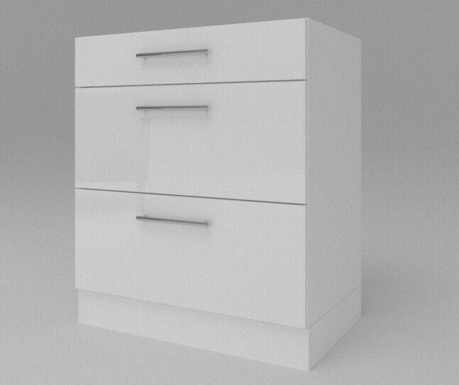 Unterschrank Küchenschrank 3 Schubladen Weiß Hochglanz Matt 30-80 cm Sockel