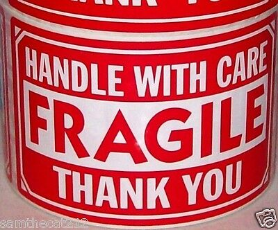 500 Large 3 X 5 Fragile Handle With Care Label Sticker