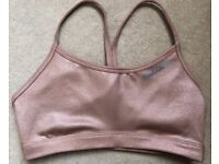 Reebok Studio Womens Playdry Metallic Sports Running Training Bra Top - Bronze - size XS