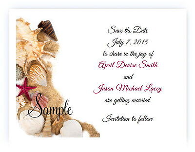 100 Personalized Custom Beach Sand Shells Bridal Wedding Save The Date Cards