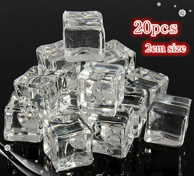 Acrylic Ice Cubes (20/50 2CM Fake Artificial Acrylic Ice Cube Crystal Clear Square Cube Decor)