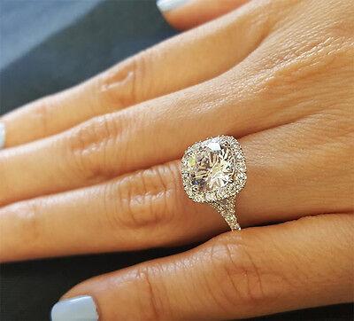 18K WG 1.90 Ct Round Cut Diamond Halo Baby Split Shank Engagement Ring E,VS2 GIA