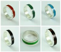 Pure 925 Silver Band Ring Amber Coral Jade Malachite Onyx Turquoise 6mm Wide -  - ebay.co.uk