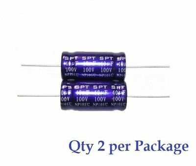 40uf 100v Non-polarized Electrolytic Axial Lead Capacitor 2 Pieces Np Bp