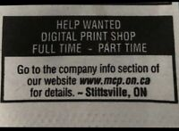 Help Wanted: Digital Print Shop-Full time/Part Time